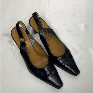 Salvatore Ferragamo Black Sling Heels Shoes 9.5 It